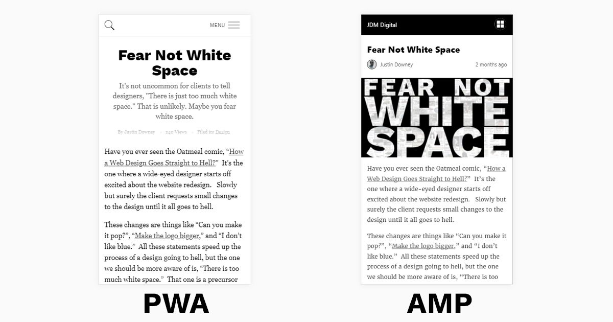 Website and AMP versions side-by-side