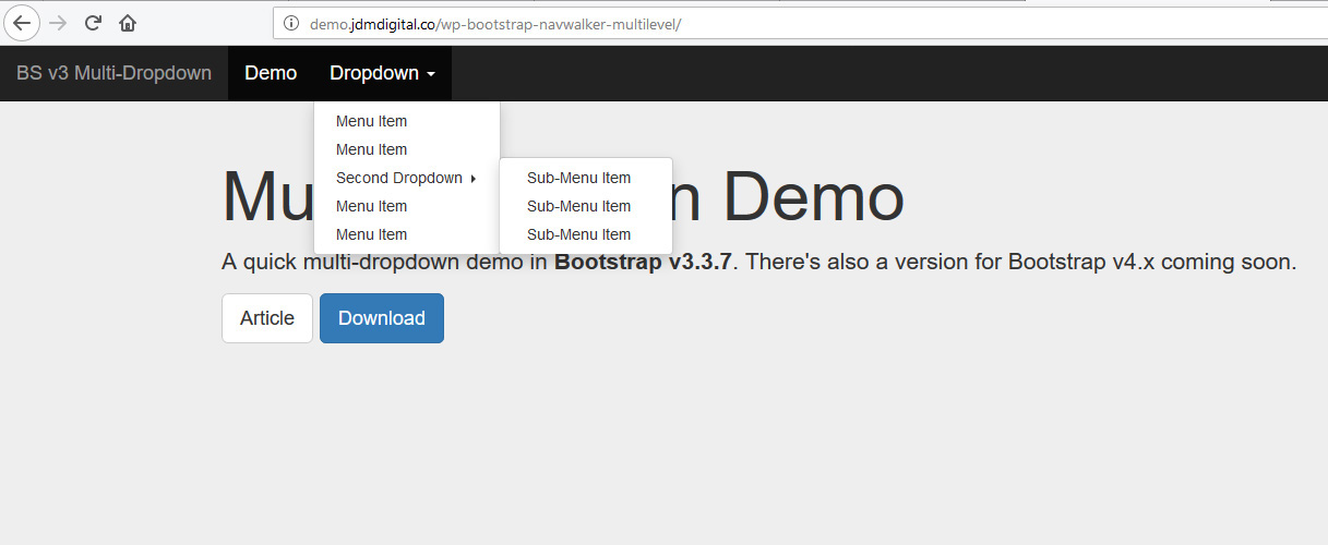 Bootstrap 3 Secondary Dropdown Menu | JDM Digital